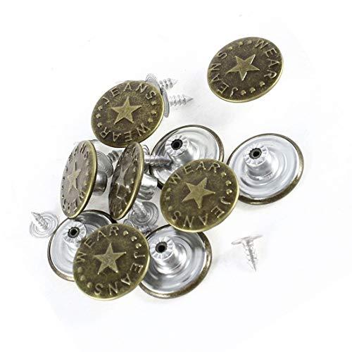 (Tack Button - Nocm 10 Pcs Star Prints Denim Jacket Jeans Metal Tack Button Bronze Tone - Replacement Bronze Button Silver 20mm 17mm Buttons Tack Metal)