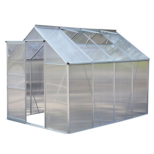 (US Stock)EVELOVE 8.2x6.2Ft Greenhouse Polycarbonate Aluminum Frame All Weather Walk-In Build Cold Frame