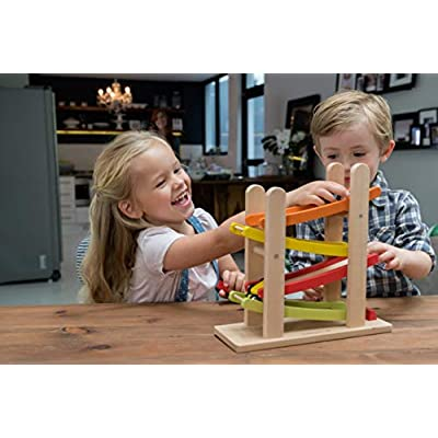 EverEarth Jr. Ramp Racer. Race Track for Toddlers and 4 Wood Cars, Race Car Ramp Set: Toys & Games