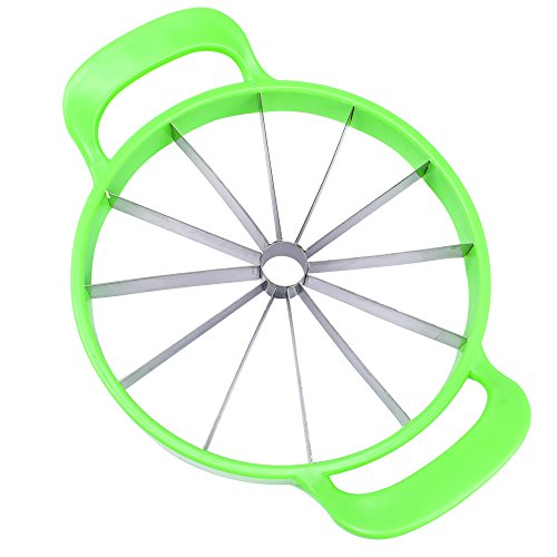 SumacLife Non Slip Premium Easy To Use Stainless Steel Kitchen Tool Melon/Pineapple Slicer Helper, Watermelon Green