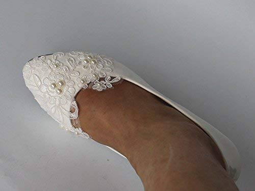 Sweet women Stylish Pearls Flat Wedding Shoes For Bride Prom High Heels Plus Size Pointed Toe Lace Bridal Shoes