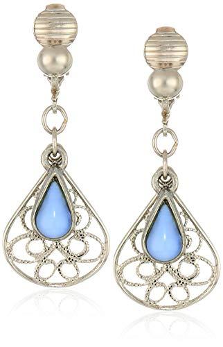 - 1928 Jewelry Women's Silver Tone Filigree Clip Teardrop with Light Blue Moonstone Overlay Drop Earrings, Blue, One Size
