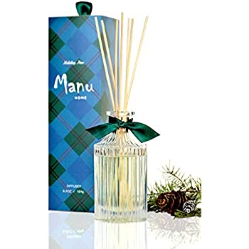 Manu Home Pine Reed Diffuser Oil Set ~ Includes Beautiful Reusable Bottle, Our Award Winning Pine Scent and Set of Sticks ~ 6.5oz ~ Made in The USA~