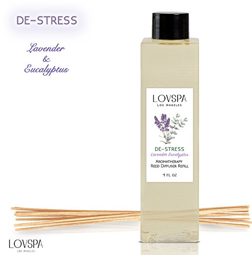 LOVSPA DE-STRESS Lavender Eucalyptus Scented Refill with Replacement Reed Sticks | Refreshing Calming Blend of Woody Lavender, Rosemary & (Floral Spa Fragrances)