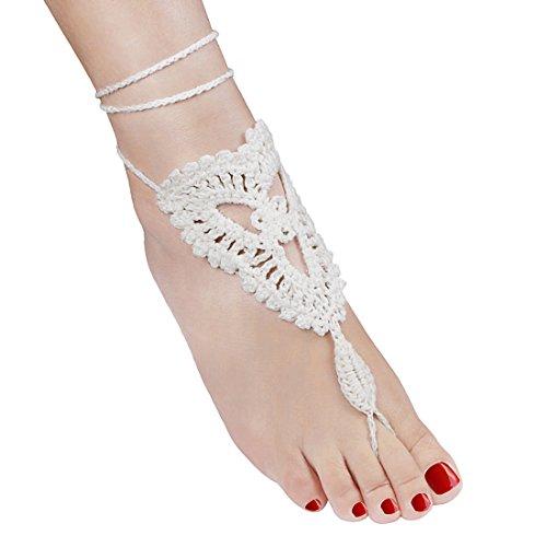 Andux 1 Paar Vintage Symbol Quaste Fußkettchen Für Strand Hochzeit Brautjungfer HLJHPS-01 Weiß
