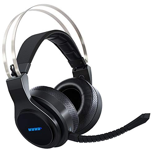 [2018 Latest] Wireless Headset 2.4Ghz Optical BliGli Noise Canceling Stereo Gaming Game Headphones for PS4,Switch Games,TV,with 7.1 Surround Sound,Detachable Mic,Rechargeable Battery, LED Light by Bligli