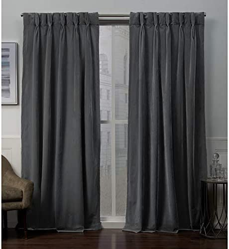 Exclusive Home Curtains Velvet Heavyweight Pinch Pleat Top Curtain Panel Pair