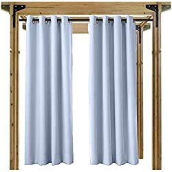Cololeaf Outdoor Curtain for Patio Waterproof Grommet Top Thermal Insulated Blackout Outdoor Curtain Drape, Porch, Gazebo, Pergola, Cabana, Dock, Beach Home - Sky Blue 52W x 84L Inch (1 Panel)