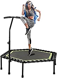 """48"""" Silent Mini Trampoline with Adjustable Handle Bar,Fitness Trampoline Bungee Rebounder Jumping Cardio"""