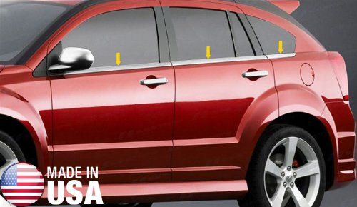 Made In USA! 2007-2012 Dodge Caliber 6PC Stainless Steel Chrome Window Sill Overlay (Suv Caliber Dodge)