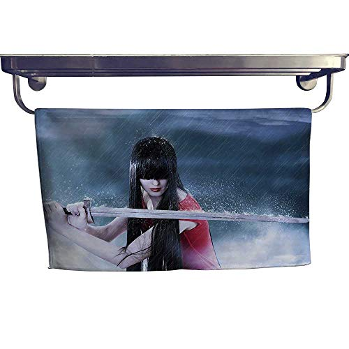 - Beach Towel, Fashion Fantasy Portrait of Young Pretty Brunette Woman Fighter with Sword in Mist,Luxury Towels Highly Absorbent Extra Soft W 35.5