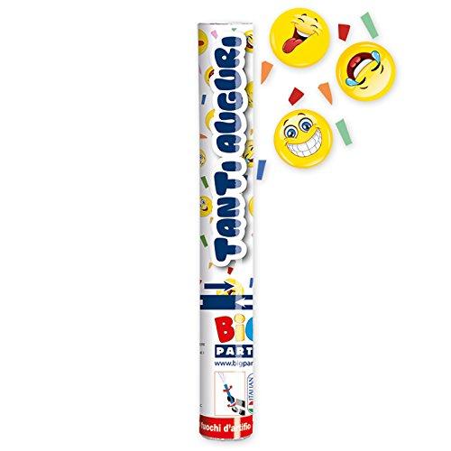 Tubo Cannone sparacoriandoli 30 cm EMOTICON EMOJI gadget festa compleanno Big Party
