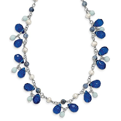 (Sterling Silver Blue Crystal/Lapis/Amazonite/Cultured Pearl Necklace)
