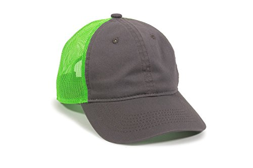 (Outdoor Cap Garment Washed Meshback Cap, Charcoal/Neon Green, One Size)