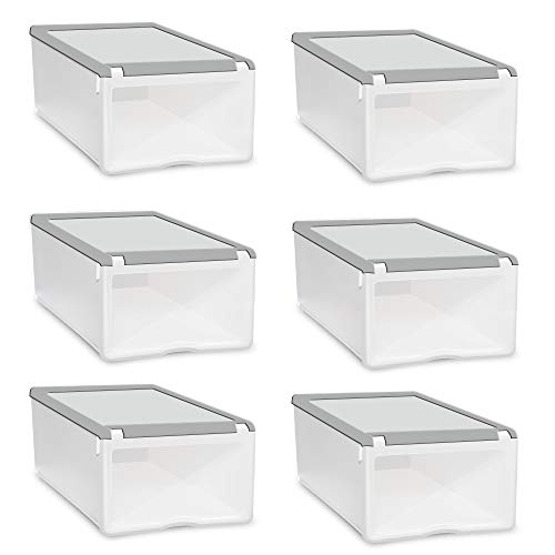 k Stackable Storage Shoe Box White.Stacking Drawer, White Frame with Clear Drawer ()