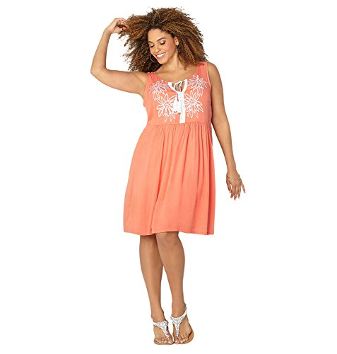 AVENUE Women's Embroidered Daisy Empire Waist Dress, 22/24 Peach