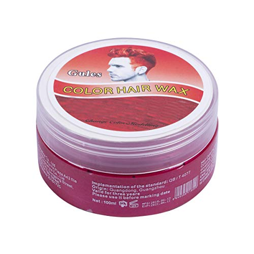 Colored Mud Dye Hair Mud Wax Dye Cream for Halloween Party Thanksgiving Nightclub (100ML, Red) -