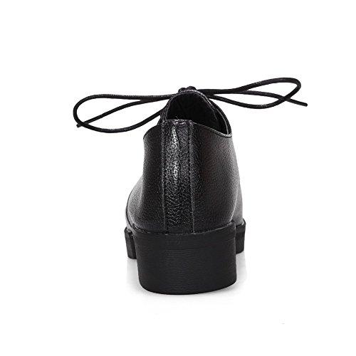 Amoonyfashion Donna Tacco Basso Materiale Morbido Solido Stringato Tacco A Spillo Scarpe-scarpe Nere