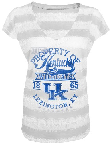 Majestic Athletic NCAA Kentucky Wildcats Leave It On The Field V-Neck Short Sleeve T-Shirt, White, Large ()