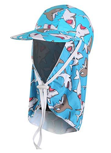 Happy Cherry Boys Swim Flap Hat Cartoon Cute Soft Breathable Wide Brim Floppy Neck Cover UPF 50 Beach Cap Blue Shark