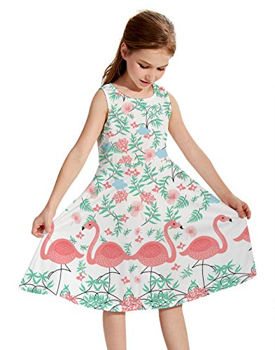 Funnycokid Girls Green Grass Red Flamingo Dress Crew Neck Floral A-Line Dresses for Dance Ball Party Beach Wedding, Color: ()