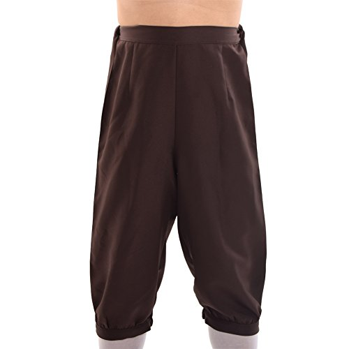 BLESSUME Retro Colonial Pants Renaissance Mens Knicker Pants Breeches (Brown, L) -