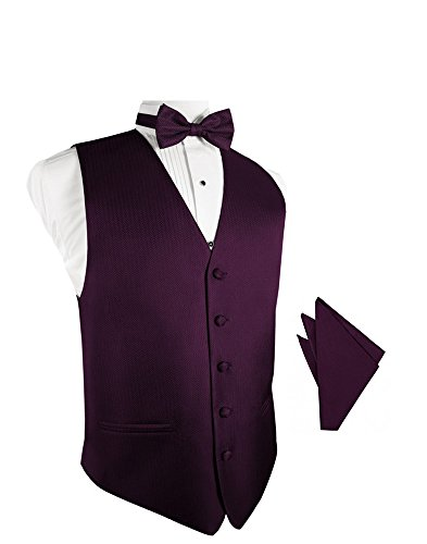 Sangria Herringbone Tuxedo Vest with Bowtie & Pocket Square Set ()