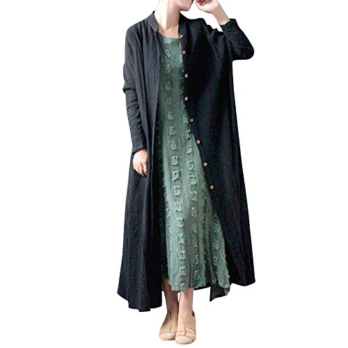 Coat for Women, Clearance Sale! Pervobs Women Casual Long Sleeve Swing Coat Loose Flowy Button Thin Jacket Cardigan(2XL, Black) -