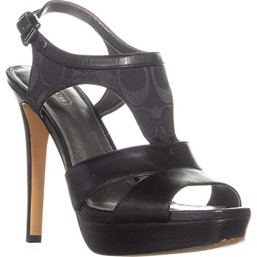 Coach Dita Ankle Trap Platform Pumps, Black/Black, 9 US