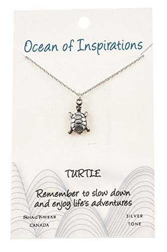 - Shag Wear Ocean of Inspirations Quote Pendant Necklace (Turtle Pendant)