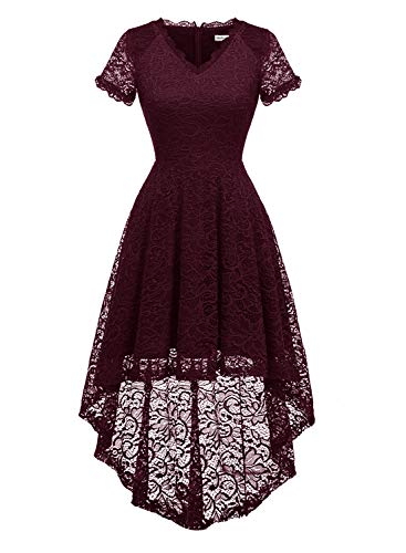 MODECRUSH Womens Ruffle Sleeve Formal Hi Low Floral Lace Cocktail Party Dresses L Burgundy
