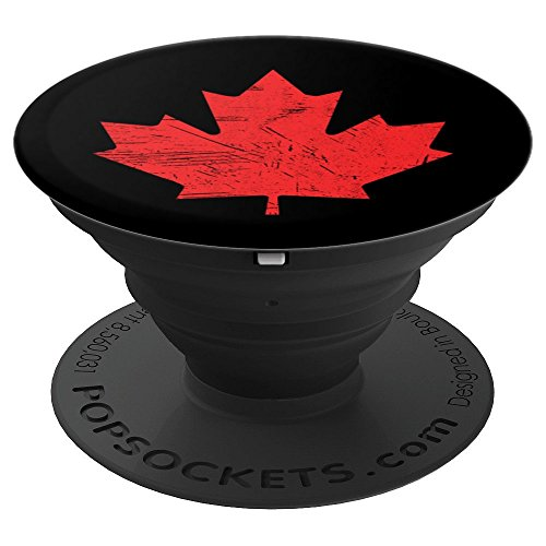 - Red Maple Leaf Canada Flag Vintage Distressed Graphic Design - PopSockets Grip and Stand for Phones and Tablets