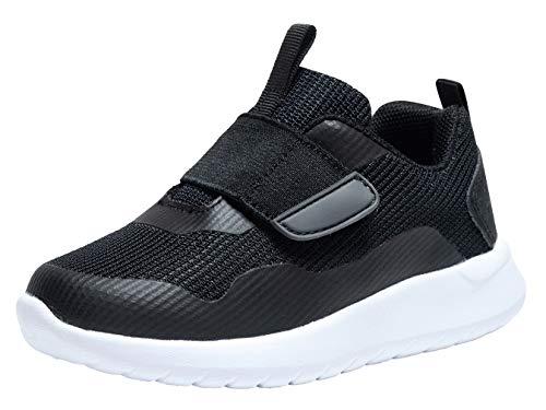 (Zoneyue Boys Low Top Buckled Tennis Skate Shoes Bungee Straps Flat Sneakers (Toddler/Little Kid/Big Kid) (8.5 M US Toddler, Black/White))