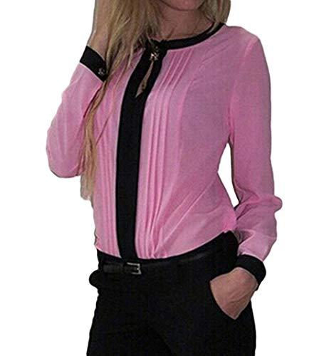 Bluse Collo Lunga Camicetta Chiffon Pink Donna Camicia Tops Manica Ufficio Sottile Autunno Eleganti Abbigliamento Primaverile Allentato Rotondo Shirts Fashion RqqXatzw