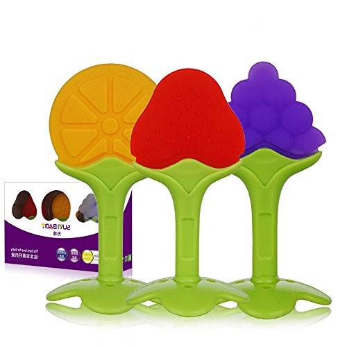 3PCS Baby Teether Toys , Soft Silicone Fruit Chew Teething S