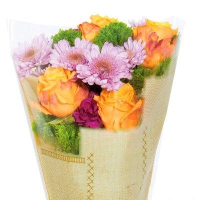 Burlap-Look Cut Flower Bouquet Sleeves - Brown - Sleeves Measure 17'' x 17'' x 4.5''