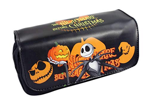 Gydthdeix 1 Pcs Large Size Black Pumpkin Ghost Skull Halloween Christmas Students Canvas Pencil Case Pen Big Capacity Bag Pouch Stationary Case Double Zippers Layers Makeup Cosmetic Bag Gift Set ()