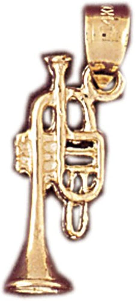 14k Yellow Gold 3-D Trumpet Pendant