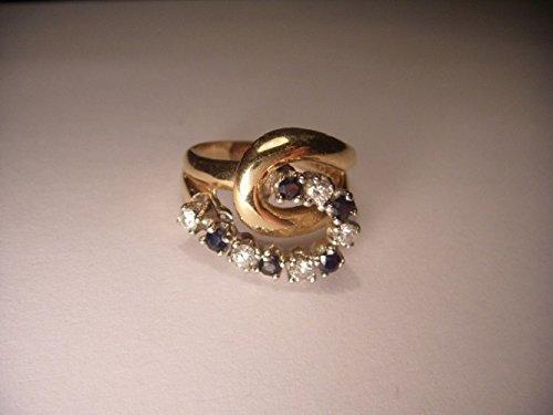 Beautiful Estate 14K Yellow Gold Diamond Sapphire Swirl Ring Band (Ring Diamond Sapphire Estate)
