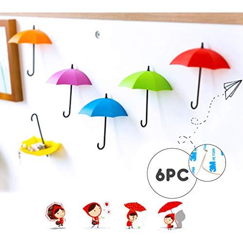 eKoi Fun Self Adhesive Decorative Umbrella Shape Key Holder Hooks Organizer for Indoor Kitchen Bathroom Kids Nursery Room Wall Décor Hanger No Nails Damage (6PC Assorted Color Removable 3M Tape)