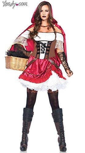 Rebel Riding Hood Adult Womens Costumes (Leg Avenue Women's 2 Piece Rebel Riding Hood Costume, Multi, Small)