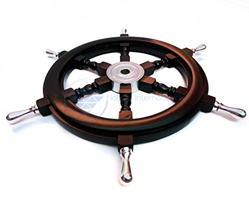 Nautical Handcrafted Wooden Ship Wheel - Home Wall Decor - Nagina International (36 Inches, Black (Aluminium Hub & Handle)) by Nagina International