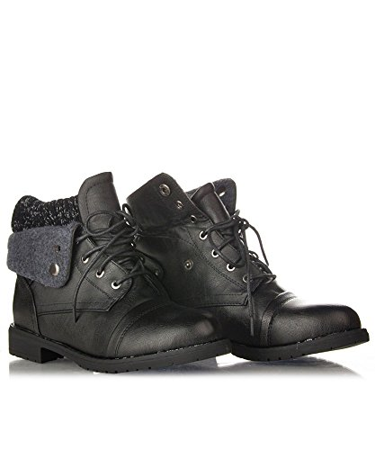 ROF Troop-01 Military Boots ( Black PU Size10) (Womens Military Boots)