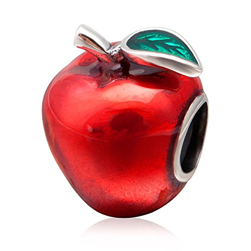 Red Apple Charm with Green Leaf Charm 925 Sterling Silver Snow White Charm Fruit Charm Christmas Charm for DIY Charms Bracelet