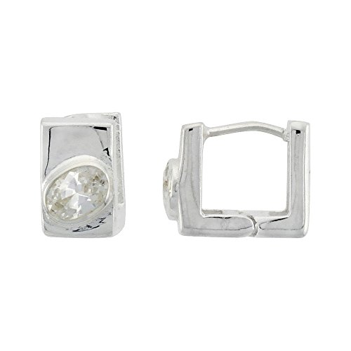Sterling Silver Square-shaped Huggie Earrings Oval Cut 6 x 4 mm (.50 ct) CZ Stone, 7/16 inch tall
