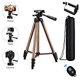 Eocean Tripod, 50-inch Video Tripod Phone Tripod Mount for Cellphone with iOS and Andriod System, Universal Tripod for Gopro and Camera with Wireless Remote, Compatible with iPhone Xs/Xr/X/8/8 PlusGalaxy Note 9/S9/Huawei/Google