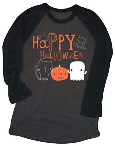 Pumpkin Easy Halloween Costume Tshirt Tee Women Funny Saying Letter Print Graphic Raglan 3/4 Sleeve Baseball Tee T-Shirt Size L (Black)
