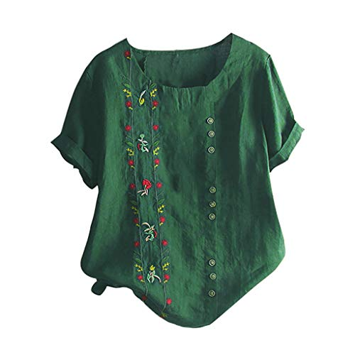 - Floral Embroidered Shirt, QIQIU Womens Summer Fashion Bohemian Short Sleeve Linen O-Neck Plus Size Loose Tank Tops Green