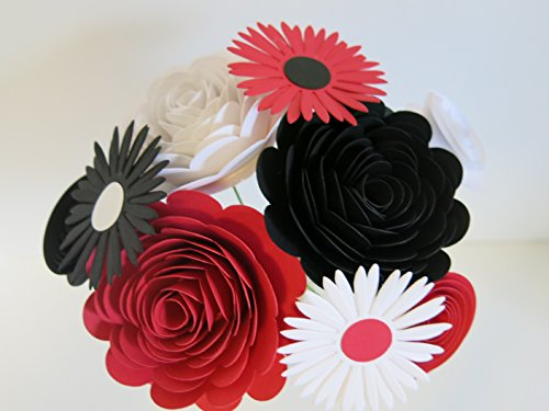 Mixed Stems (Red, Black and White Mixed Paper Flower Bouquet, Modern Roses and Daisies on Stems, Set of 9 Floral Picks)