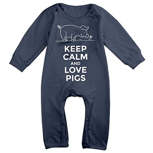 Baby Girls Boys Keep Calm And Love Pigs Long Sleeve Climb Romper 24 Months (Party Stores In Baton Rouge)